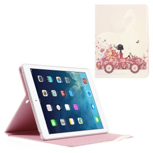 Rhinestone Leather Stand Case for iPad Air - Beauty on the Car with Flowers
