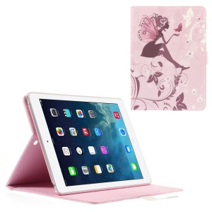 Rhinestone Leather Stand Cover for iPad Air - Girl with Wings and Butterfly