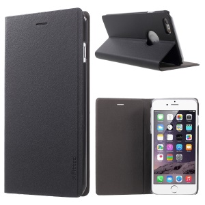X-FITTED Genuine Cow Leather Case for iPhone 6 Plus 5.5-inch with Stand - Black