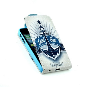 Card Slots Vertical Flip Leather Case Accessory for iPhone 5 5s - Land Sea & Anchor