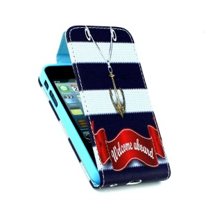 Card Slots Vertical Leather Flip Cover for iPhone 5 5s - Welcome Board & Anchor