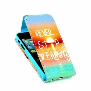 Card Slots Up-Down Leather Shell for iPhone 5 5s - Quote Never Stop Dreaming & Sunset