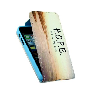 Vertical Up-Down Leather Credit Card Slots Case for iPhone 5 5s - Quote HOPE
