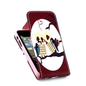 For iPhone 5 5s Vertical Leather Flip Cover with Card Slots - Sweet Bird Couple