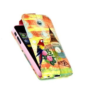 For iPhone 5 5s Vertical Flip Leather Shell with Card Slots - Big Ben & Pretty Bird