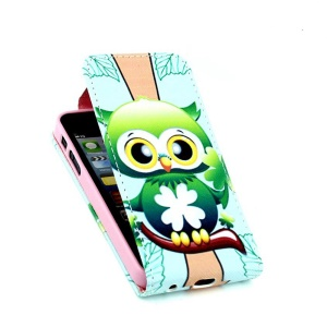 For iPhone 5 5s Vertical Flip Leather Skin Case with Card Slots - Cute Green Bird