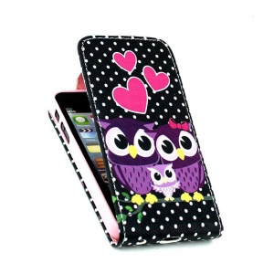 For iPhone 5 5s Vertical Flip Leather Card Slots Case - Sweet Owl Family