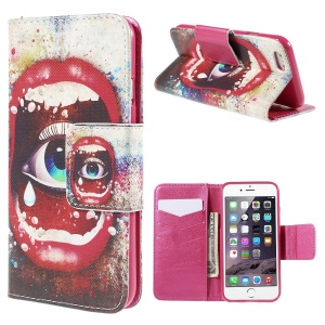 Sexy Lip and Eye Wallet Stand Leather Case for iPhone 6 (4.7 inch)