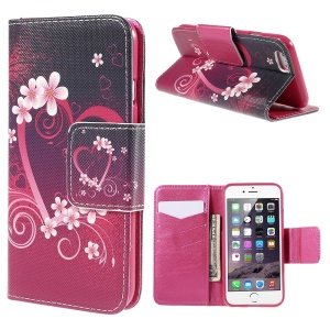 Heart Flowers Flip Leather Case for iPhone 6 with Card Holder