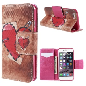 Red Heart Wallet Stand Leather Case for iPhone 6 (4.7 inch)