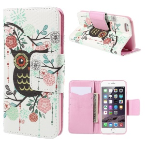 Owl Flowers Leather Case for iPhone 6 Plus with Card Slots