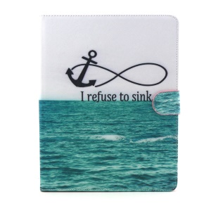 Flip Smart Leather Wallet Stand Case for iPad 2 3 4 - Anchor and Quote I Refuse to Sink