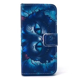 Wallet Leather Shell for iPhone 5 5s - Psychedelic Cat