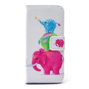 Leather Phone Case Card Holder for iPhone 5 5s - Color Mammoth and Elephants