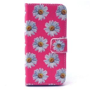 Leather Folio Phone Protective Case for iPhone 5 5s - Daisy Pattern