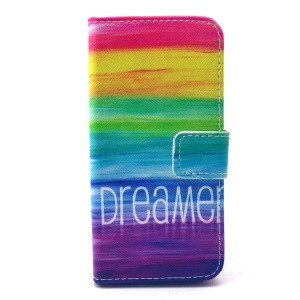 Folio Leather Wallet Phone Case for iPhone 5 5s - Rainbow Stripes