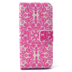 Leather Wallet Phone Protective Cover for iPhone 5 5s - China Folk Art Pattern