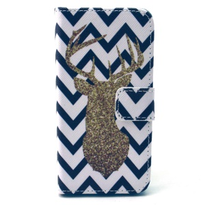 Wallet Leather Phone Protective Case for iPhone 5 5s - Chevron and Deer