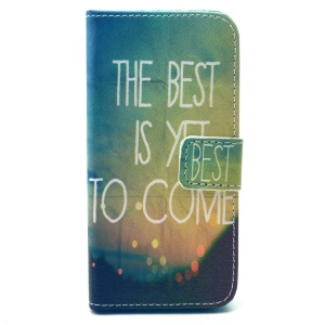 Wallet Leather Protective Mobile Case for iPhone 5 5s - Night View and Quote