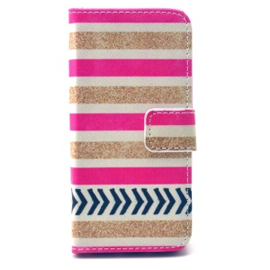 Wallet Leather Protective Phone Case for iPhone 5 5s - Colorful Stripes Pattern