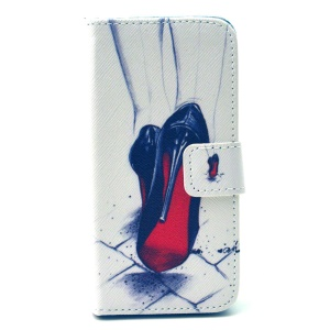 Wallet Leather Flip Mobile Case for iPhone 5 5s - Red Bottom High Heels