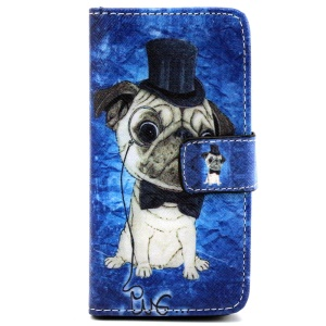 Wallet iPhone 5 5s Shell with Stand - Pug Wearing Top Hat and Bowtie