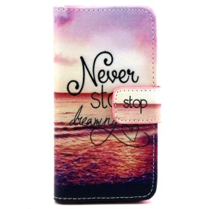Wallet iPhone 5 5s Cover with Stand - Seaside and Quote