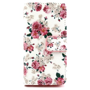 Wallet iPhone 5 5s Cover with Stand - Blooming Roses
