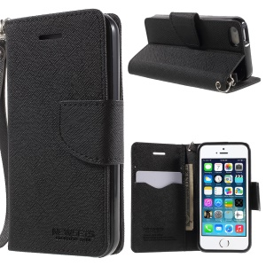 NWESETS MERCURY Cross Pattern Leather Case for iPhone 5s 5 - Black