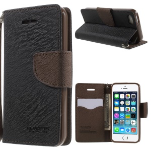 NWESETS MERCURY Two-color Cross Pattern Leather Cover for iPhone 5s 5 - Black / Brown