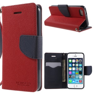 NWESETS MERCURY Two-color Cross Pattern Leather Wallet Cover for iPhone 5s 5 - Red