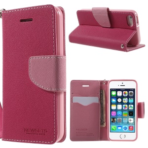 NWESETS MERCURY Two-color Cross Pattern Leather Wallet Case for iPhone 5s 5 - Rose / Pink