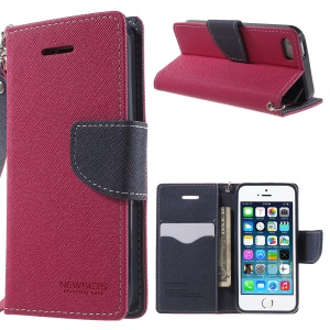 NWESETS MERCURY Two-color Cross Pattern Wallet Leather Stand Cover for iPhone 5s 5 - Rose / Dark Blue