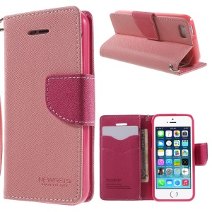 NWESETS MERCURY Two-color Cross Pattern Wallet Leather Stand Case for iPhone 5s 5 - Pink