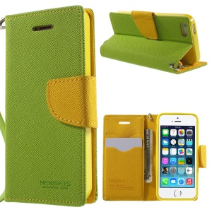 NWESETS MERCURY Two-color Cross Pattern PU Leather Cover for iPhone 5s 5 - Green / Yellow