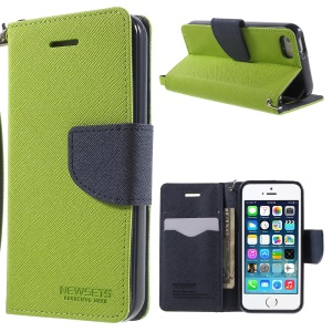 NWESETS MERCURY Two-color Cross Pattern PU Leather Case for iPhone 5s 5 - Green / Dark Blue
