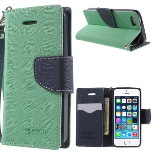 NWESETS MERCURY Two-color Cross Pattern Leather Card Holder Cover for iPhone 5s 5 - Cyan