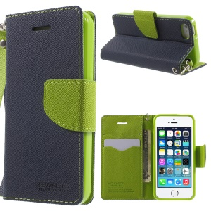 NWESETS MERCURY Two-color Cross Pattern Leather Card Holder Case for iPhone 5s 5 - Dark Blue
