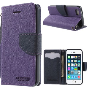 NWESETS MERCURY Two-color Cross Pattern Leather Cover for iPhone 5s 5 - Purple