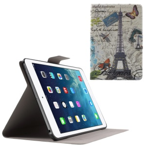 Flip Sweet Fragrance PU Leather Shell for iPad Mini 3 / 2 / 1 - Eiffel Tower and Butterflies