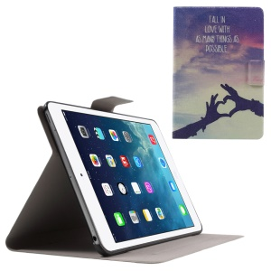 Sweet Fragrance Protective Leather Case for iPad Mini 3 / 2 / 1 - Love Gesture and Quote