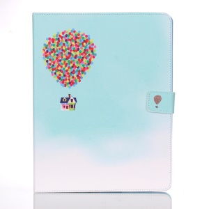 For iPad 2 3 4 Wallet Leather Cover Smart Awakening - Hot Air Balloon with House
