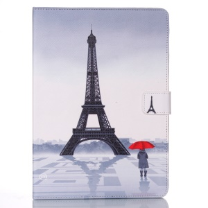 Patterned Wallet Smart Leather Stand Shell for iPad Air - Eiffel Tower and People in the Rain