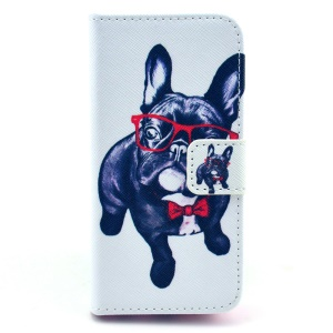 Flip Leather Protective Case for iPhone 5c - Pug Wearing Glasses