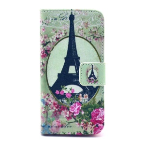 Flip Leather Protective Cover for iPhone 5c - Eiffel Tower and Roses