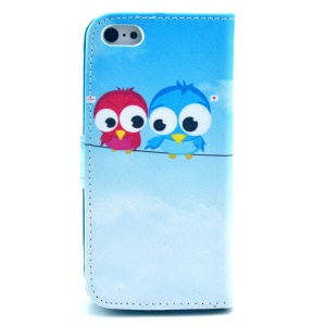 Flip Leather Protective Case for iPhone 5c - Birds on the String