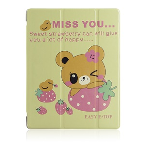 Sweet Strawberry and Bear Smart Stand Leather Case for iPad 2 3 4