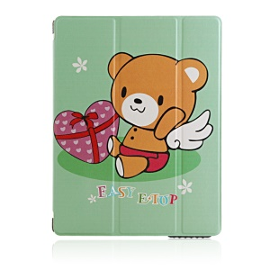 Gift Box and Bear Smart Stand Leather Cover for iPad 2 3 4