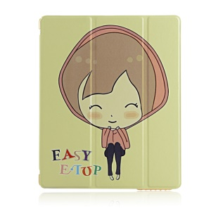 Lovely Girl Flip Smart Stand Leather Shell for iPad 2 3 4