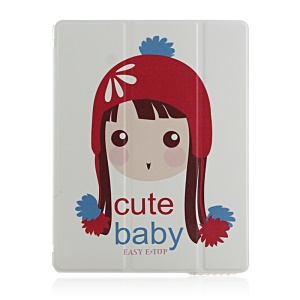 Cute Baby Wearing Winter Hat Smart Stand Protective Leather Cover for iPad 2 3 4